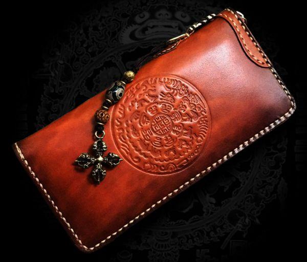 新作限定品イタリア本革 最高の逸品メンズ 手染め手縫い ハンドメイド 牛革 財布ラウンドファスナー 長財布ウォレット 真鍮ストラップ付き