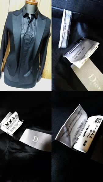 国内正規新古 Dior Hommeディオールオム スモーキングラペルジレ黒 ピークド光沢ラペルブラックベスト 最小38 XXS ジャケット以上の存在感!_38P 唯一のスモーキングラペルジレ 各タグ