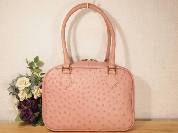 新品 定6万 本物 高級オーストリッチ 総革ハンドバッグ お出かけ用 ピンク (検 ダチョウ