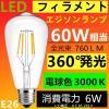 LED電球 E26 《B》フィラメント クリアタイプ エジソンランプ 電球色 3000K 60W相当 消費電力6W
