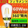 LED電球 E26 《2個セットB》フィラメント クリアタイプ エジソンランプ 電球色 3000K 60W相当 消費電力6W