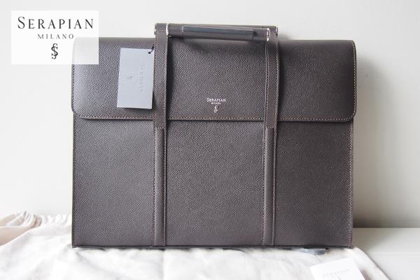 新品 未使用 セラピアン Serapian Milano エボリューションブリーフケース Briefcase with slot-in handles Evolutionダークブラウン