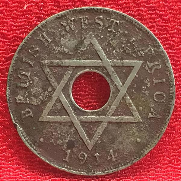 【Eco本舗】英国 西アフリカ 1914 ジョージ5世 1 ペニー アンティーク コイン 硬貨 古銭 銅貨 ニッケル Coin [y-9]_画像2