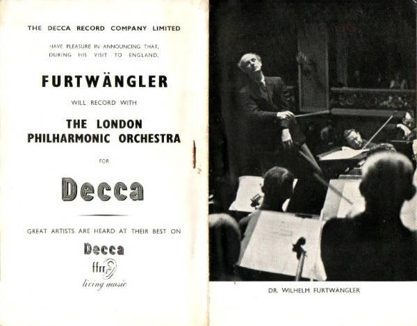 【コンサートパンフ】W・フルトヴェングラー/ロンドン・フィル/ブラームスsym.1他