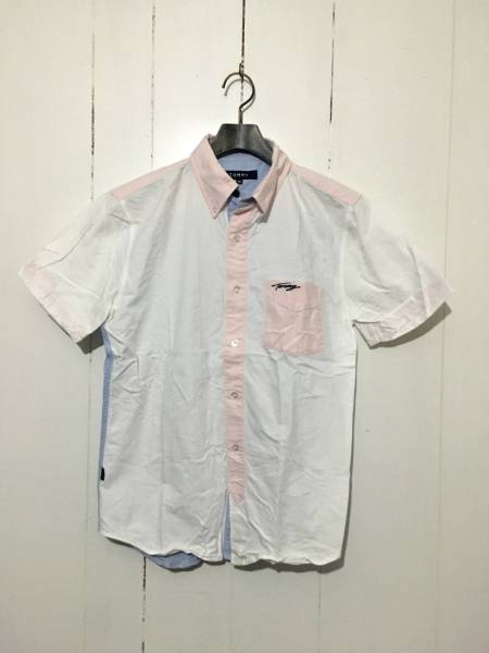 美品☆TOMMY HILFIGER M 半袖シャツ クレイジーカラー 白 ピンク 水色 トミーフィルフィガー 刺繍