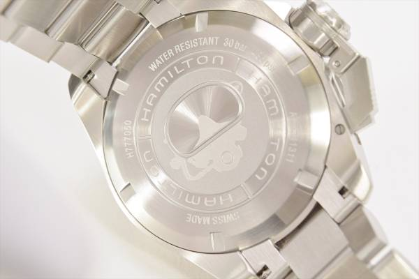→□ 新品 HAMILTON カーキネイビー オープンウォーター オート ダイバーズ H77705145 自動巻き 腕時計 メンズ_画像4
