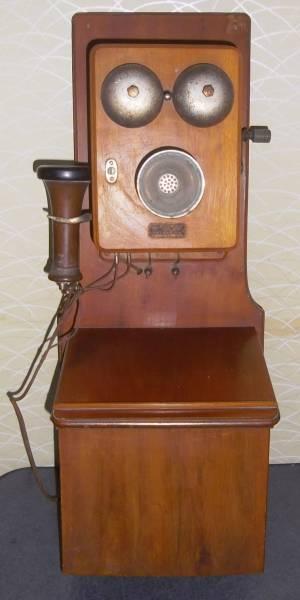 ◇昔の電話機◇東京沖電気(株) 木製箱型電話機 ハンドル式  壁掛け電話 大正十三年製 アンティーク 時代物 電話機