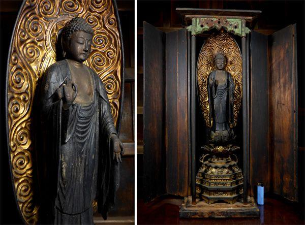【桜】仏教美術 木造 厨子入 如来立像 江戸時代 約70cm/仏像 阿弥陀如来 菩薩 明王
