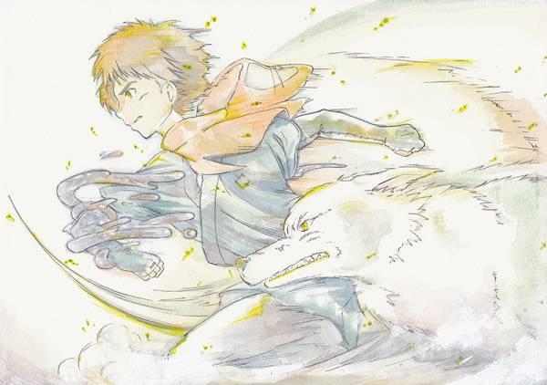 同人手描きイラスト/アクリル画/スタジオジブリ・もののけ姫・アシタカ・モロの子_画像2