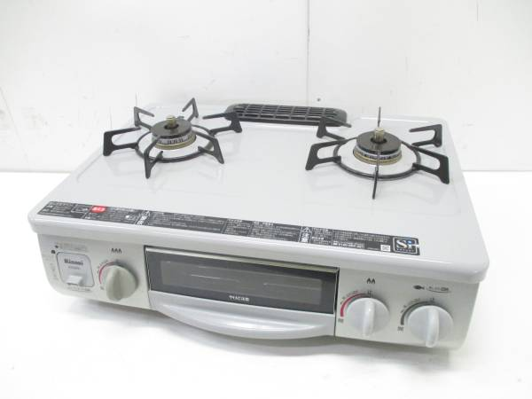 美品 リンナイ LPガスコンロ ガステーブル RT31NHS-L クリスタルコート 13年製□