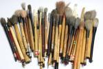 【縁】書道家所蔵品 紋竹 古筆 まとめて58本 時代の品 書道具 n880