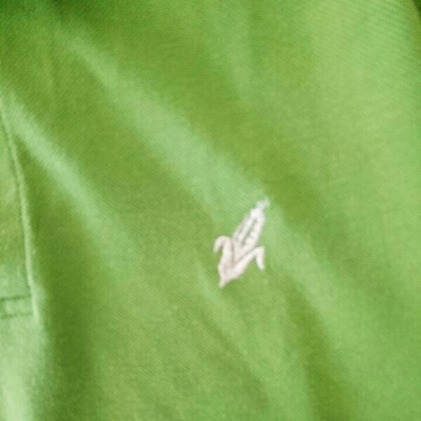 ポロシャツLピスタチオ色ベルメゾングリーン定番大人カジュアル差し色_画像2