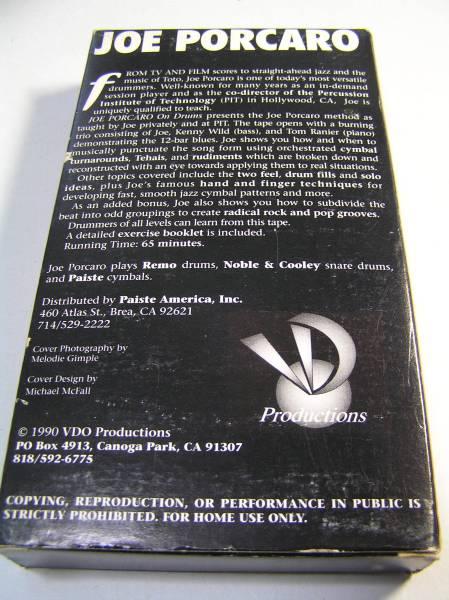 VHSビデオ/ジョー・ポーカロ/Joe Porcaro On Drums/ドラム 教則/Tom Ranier/Kenny Wild/輸入版_画像3