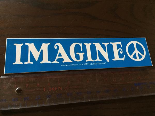 アメリカ製 ジョンレノン ステッカー イマジン ピースサイン ピースマーク ヒッピー ビートルズ IMAGINE ビートル フォルクスワーゲン VW ライブグッズの画像