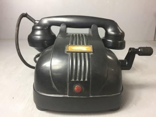 アンティーク 東芝 マツダ 手回し 黒電話 PW-4磁石式 警察庁物品 レトロ