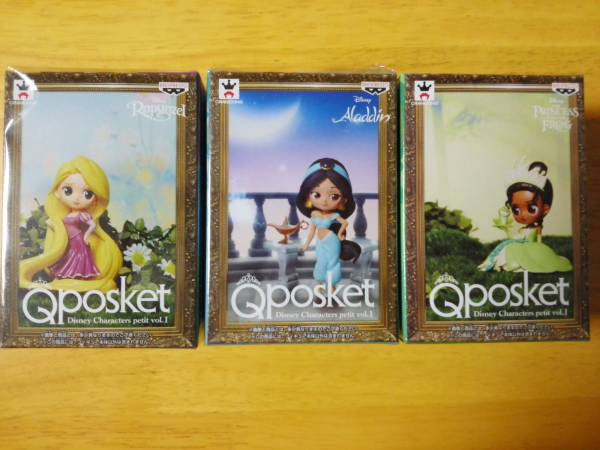 Disney ディズニー Qposket プチ Q posket Disney Characters petit vol.1 ラプンツェル ジャスミン ティアナ 全3種セット ディズニーグッズの画像