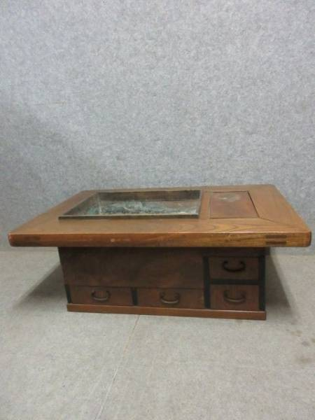 【文】20593 長火鉢 ケヤキ製 ひばち昭和レトロ骨董古物