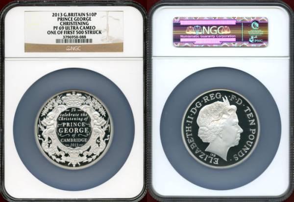 1円スタート イギリス 2013年 10ポンド(5oz) 銀貨 ジョージ王子洗礼 NGC PF69UC_画像3