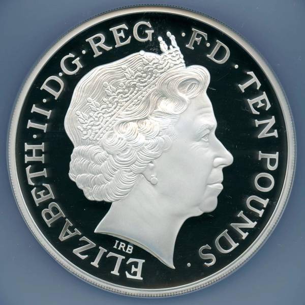 1円スタート イギリス 2013年 10ポンド(5oz) 銀貨 ジョージ王子洗礼 NGC PF69UC_画像2