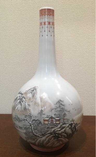 【逸品軒】中国景徳鎮製 山水雪景紋胆瓶 粉彩 中国古美術 色絵磁器 茶道具