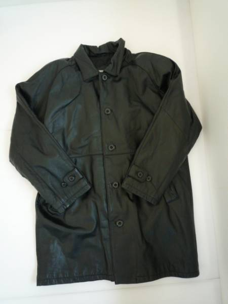 【お得!!】◆2ND LISCH◆ 革ジャケット 黒 無地 メンズ ロング