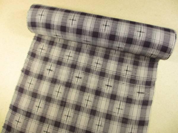 お洒落 夏 着物 反物 節糸織 津満里 上布 紫系 格子柄  展示品 新品 絹100%_画像1