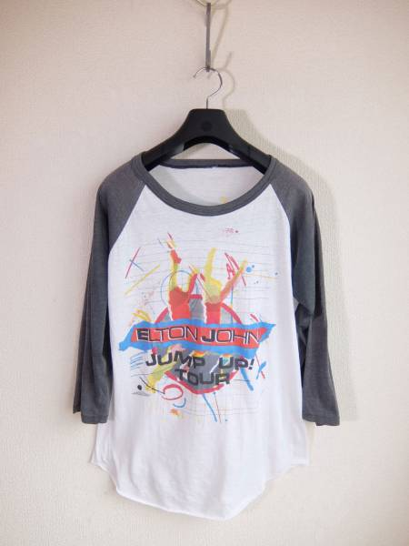 80'S? エルトン ジョン ジャンプ アップ ツアー カットソー/ELTON JOHN JUMP UP TOUR 七分袖 ロックT バンドT