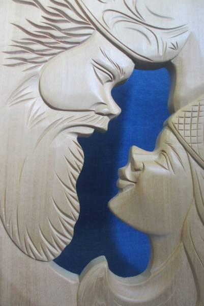木彫り アイヌ  壁飾り 壁掛け レリーフ_画像2