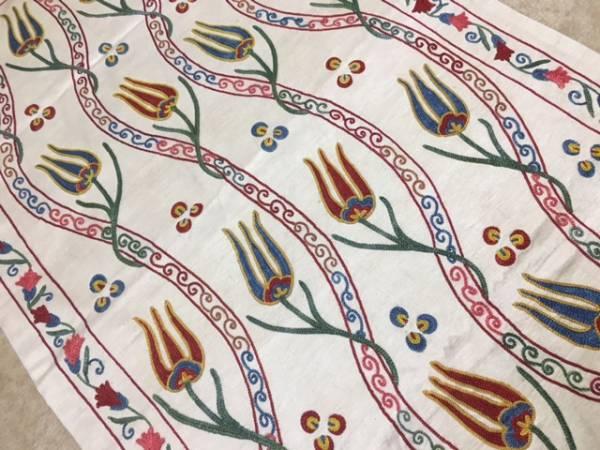 ウズベキスタンのシルクの手刺繍スザニ裏地もついています。チューリップがとてもかわいい滅多にないサイズ是非如何日本発送通関済送料込み_裏地も付いています
