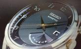 1円スタート SEIKO 逆輸入 世界特許キネティック レトログラード ゴールド 10ATM 本革ベルト メンズ 腕時計 セイコー 新品