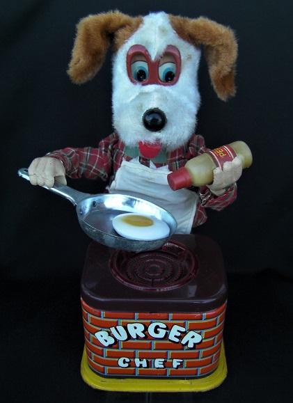 ブリキのおもちゃ・カワイイですよ~1960年代製ヨネザワ米沢「バーガーシェフ BURGER CHEF」 犬のコックさん◆完動品◎即決もあり