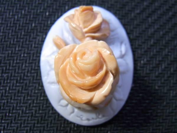 女流作家カルラの世界;超立体薔薇カメオのため息30*23ミリ小判¥16,000_画像1