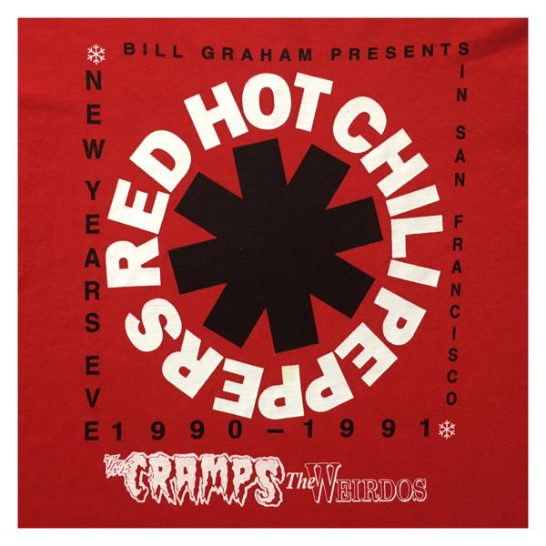 復刻 希少 RHCP レッドホットチリペッパーズ クランプス THE WEIRDOS 90-91 NEW YEARS EVE ライブ Tシャツ L 美赤 管理B786