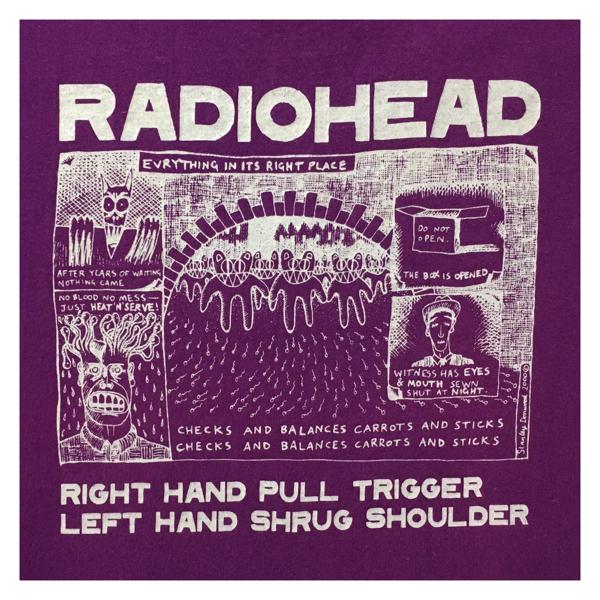 Radiohead レディオヘッド Right Hand Pull Trigger Left Hand Shrug Shoulder ツアー Tシャツ S 紫 管理B789 ニルヴァーナ ソニックユース