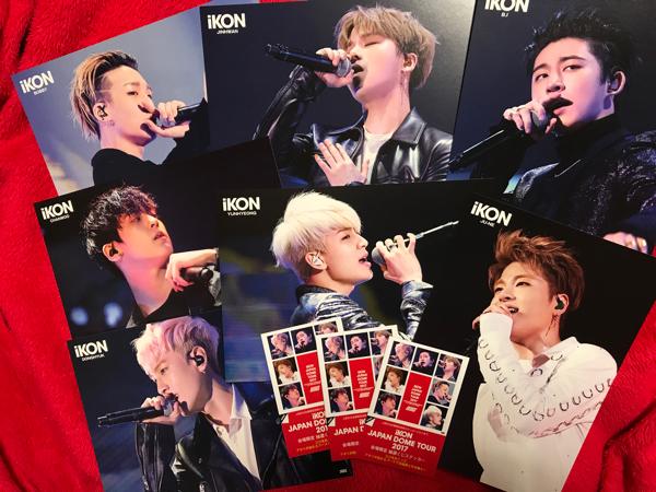 iKON JAPAN DOME TOUR 2017 会場購入特典BIGポストカード 7枚+ステッカー3枚セット新品!!