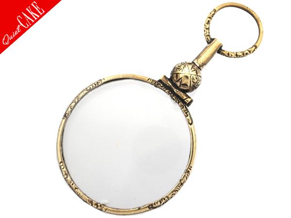 19世紀 イギリス アンティーク 彫金 ゴールド クイズングラス 片眼鏡 ペンダント /ルーペ ビンテージ ロニエット 老眼鏡 ネックレス 419