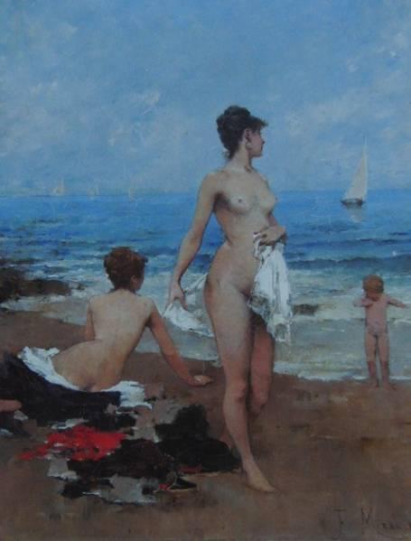 Francisco Mrealles,On the Beach,超希少・海外版オークションレゾネ 風景、wanko