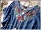 ◆新品4L◆お花刺繍*ゆったりライン薄デニムさらしっとりシャツチュニック*ブルー系