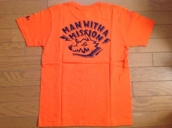 MAN WITH A MISSION トーキョー・タナカカラー ロゴTシャツ【S】オレンジ×ブラック/バックプリントあり