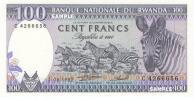 【 アフリカ大陸 / 中部 】 ルワンダ共和国 − シマウマと群走 / 千の丘の国 100フラン紙幣 1982年 未使用品