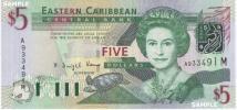 【 南北アメリカ大陸 / カリブ海 】 東カリブ諸国機構 − エリザベス女王2世(51歳) / 8の国と地域 5ドル現行紙幣 2003年 未使用品