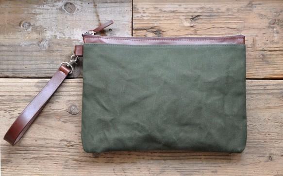 ■ハンドメイドの6号帆布とヌメ革のクラッチバッグ(カーキ:パラフィン加工)_画像1