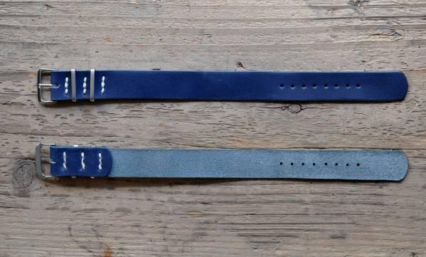 ■ハンドメイド・NATO腕時計レザーベルト22mm【ネイビー】TIMEX_画像2