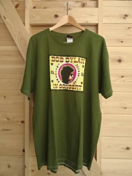 BOB DYLAN MUSIC LIVE IN CONCERT USA製 Tシャツ バンT 緑 カーキ 綿100% プリント ボブディラン オーバーサイズ 2XLサイズ 古着