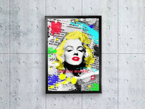 ポップアート マリリンモンロー 額縁付き ポスター A4サイズ グッズの画像