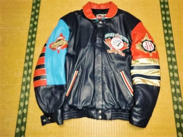 ブルージェイズ 1993年優勝記念革ジャケット ジェフハミルトン グッズの画像