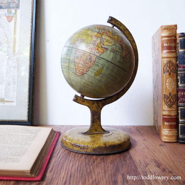 【レア】アンティーク ヴィンテージ イギリス 缶 玩具 おもちゃ ブリキ 地球儀 ◆ Antique Tin Glove ◆