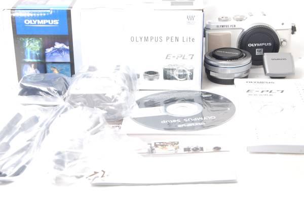 ★新品級!!★OLYMPUS オリンパス PEN Lite E-PL7 14-42mm レンズキット ホワイト うれしい元箱+豪華付属品