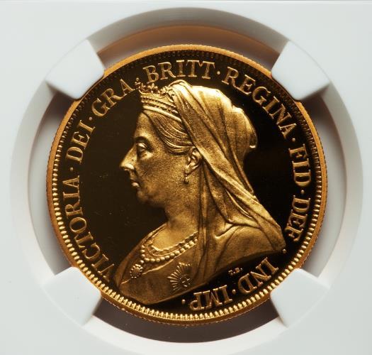 """英国 1893年 ヴィクトリア""""ベールドヘッド"""" 5ポンドプルーフ金貨 PF61 CAMEO"""