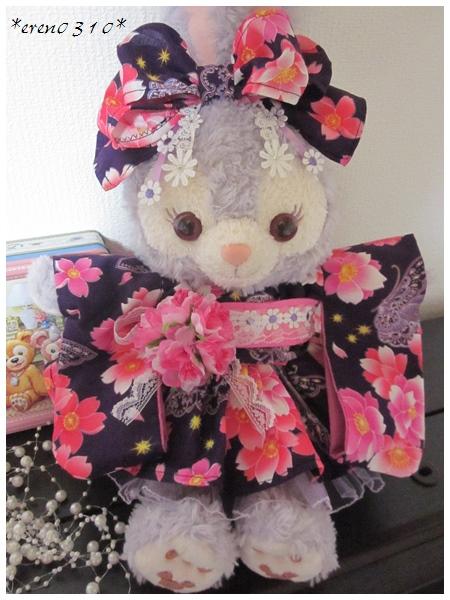 *ステラ・ルー*桜と蝶々の浴衣 濃紫 ダッフィー・メイ ディズニーグッズの画像